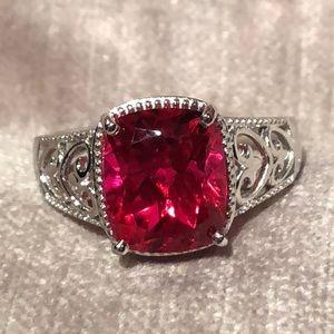 Genuine Ruby Red Quartz Platinum Plated Ring NWOTS